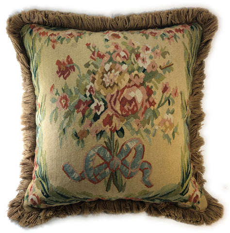 Historical woven tapestry pillow