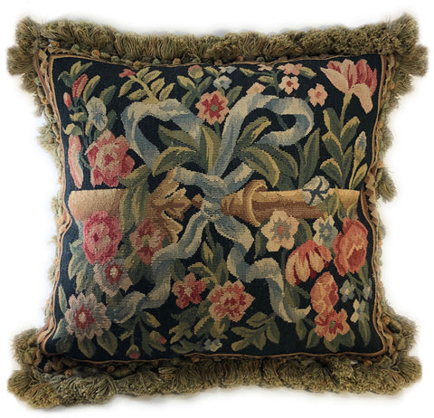 Black Floral Aubusson Pillow