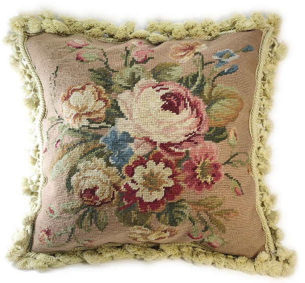 Vintage Floral Needlepoint Pillow