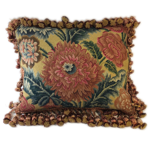 Mums of Petit Point Pillow