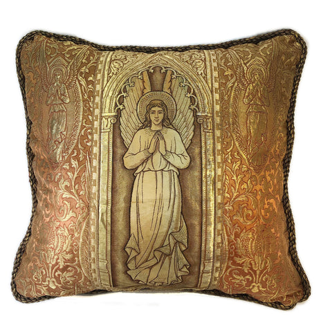 Praying angel pillow of antique church vestment