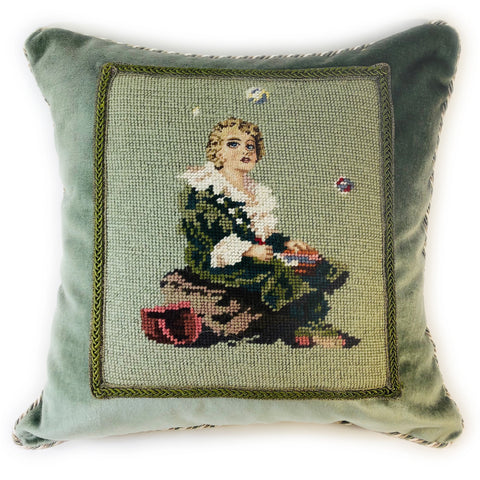 Vintage needlepoint pillow of woman