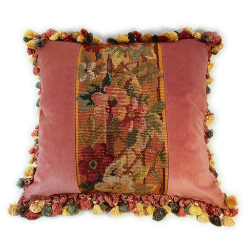 French floral Aubusson panel pillow