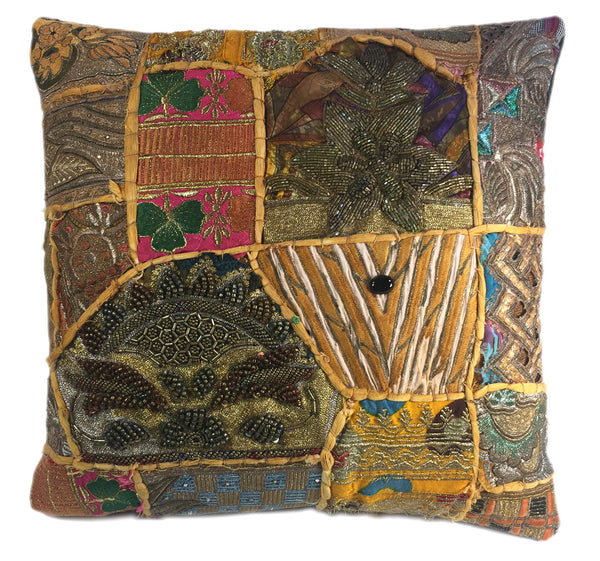 Metallic Patchwork Ethnic Pillow