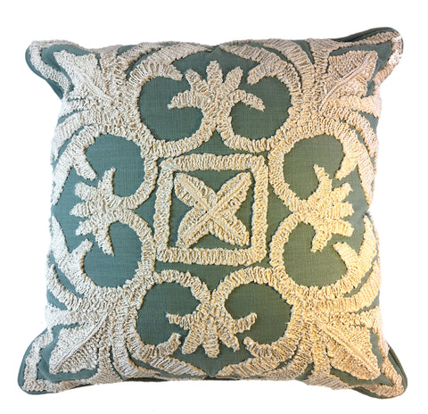 Seafoam Aqua and Cream Pillow