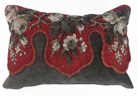 Vintage beaded valance pillow