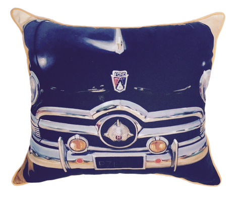 Vintage black Ford pillow