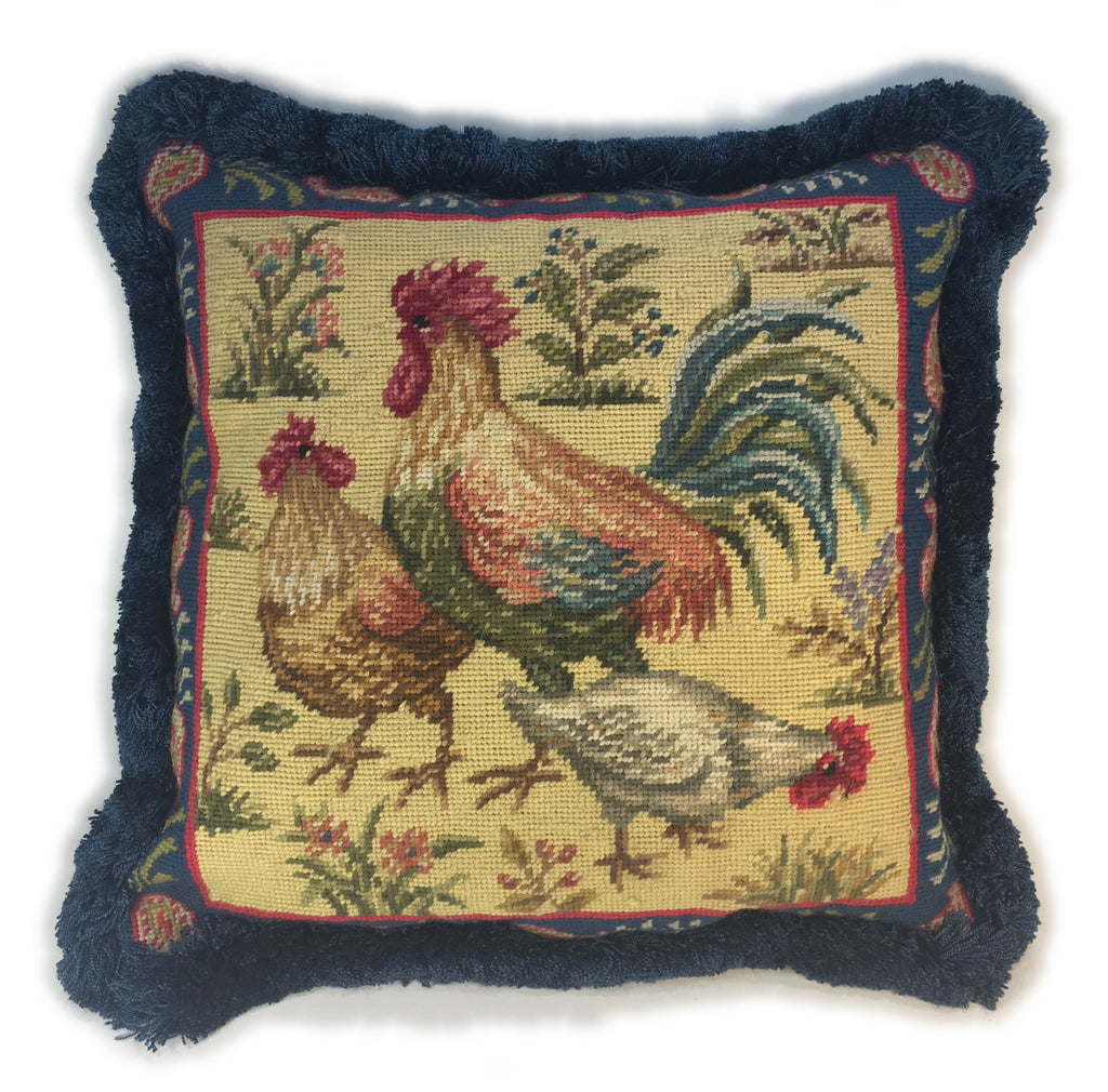 Chicken Family Needlepoint Pillow