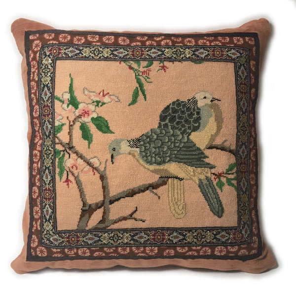 Bird Pair Needlepoint Pillow