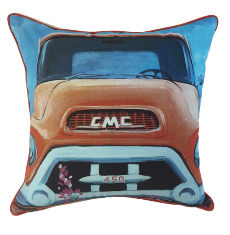 Vintage GMC truck pillow