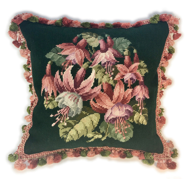 Pink Fuchsia Flower Needlepoint Pillow
