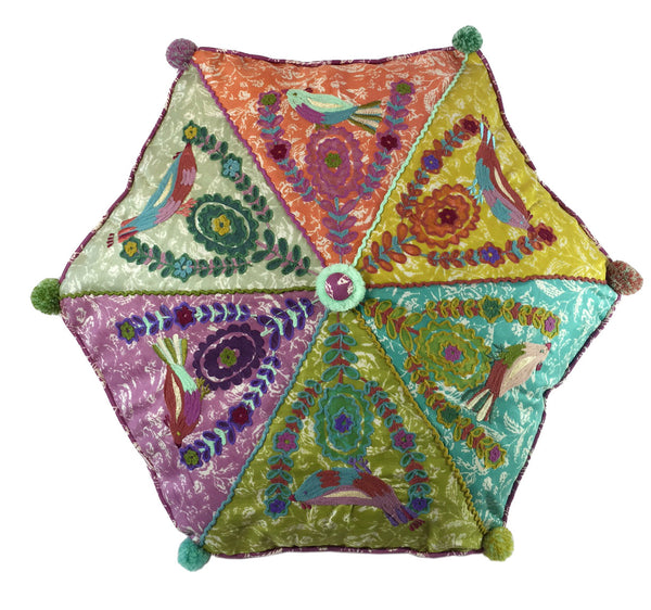 Embroidered & chain stitched hexagon pillow