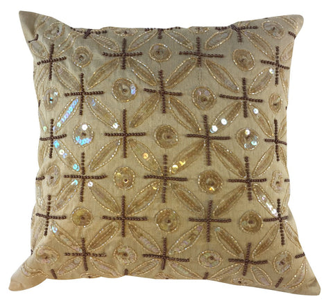 Gold tone silk pillow with sparkly embellishments
