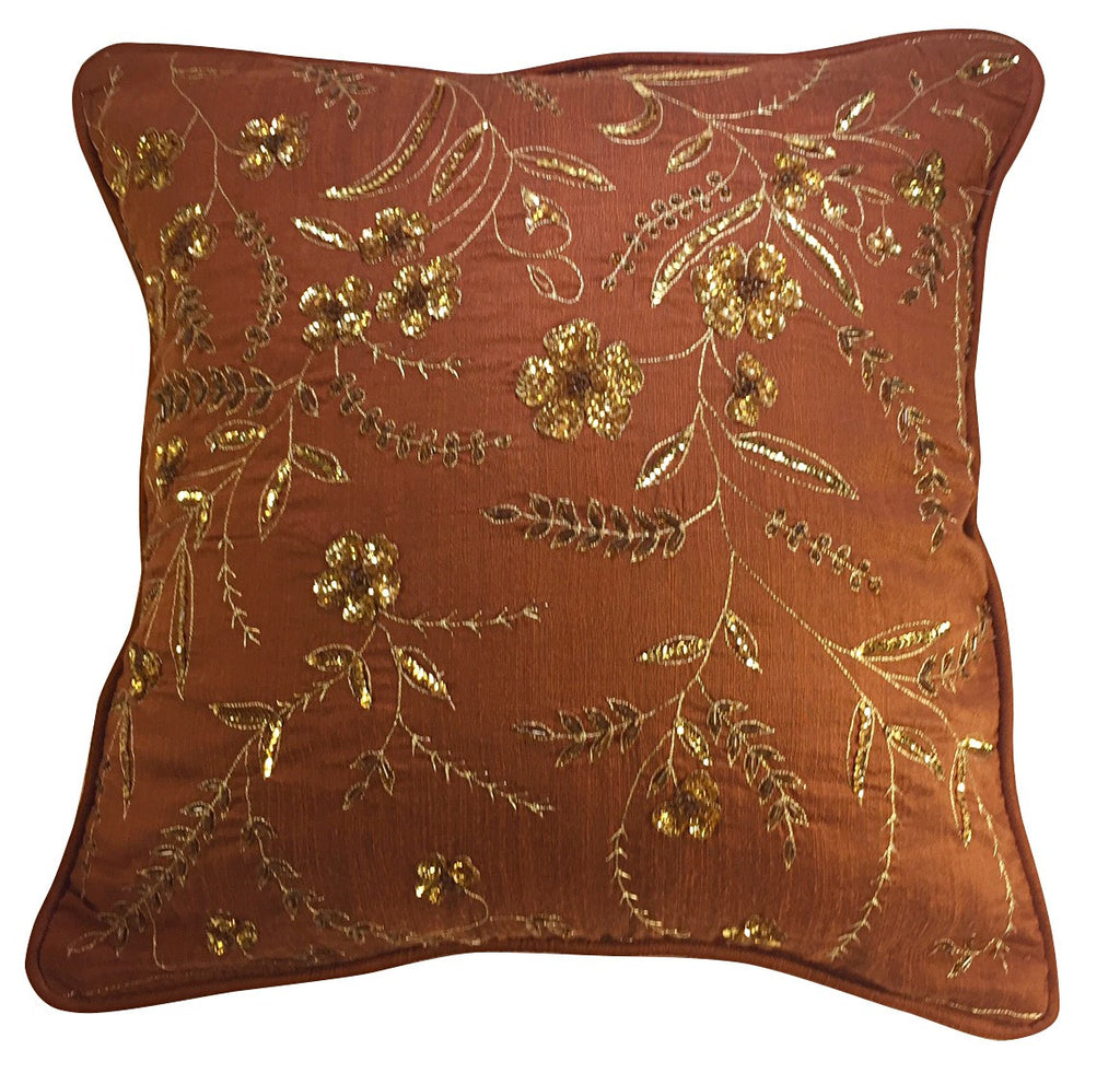 Metallic threads and sequined pillow