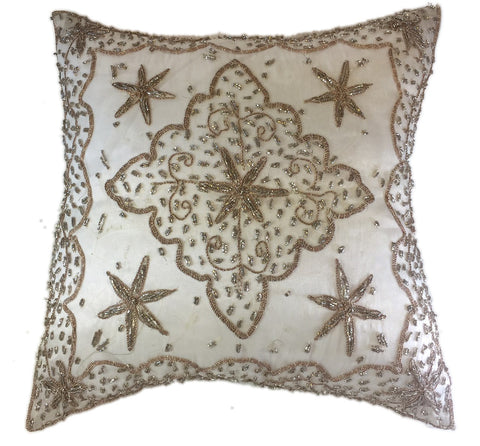 White beaded silk pillow