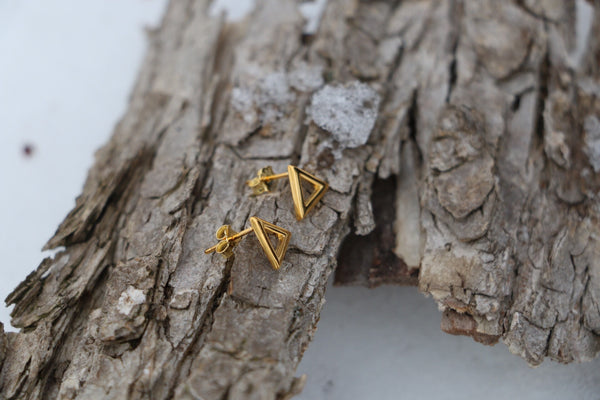 Sterling silver, Gold Plated Triangle Earring
