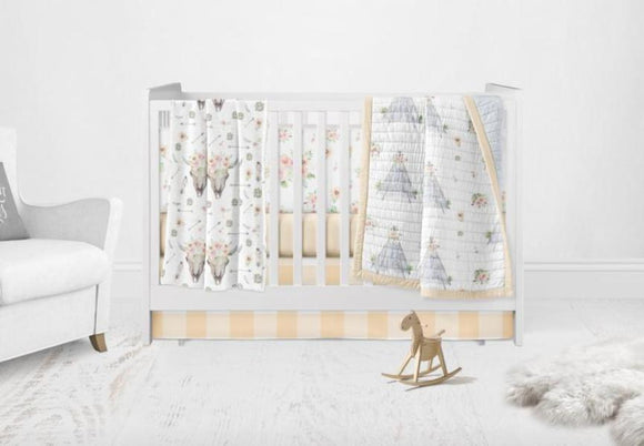 peach watercolor tee pee bedding