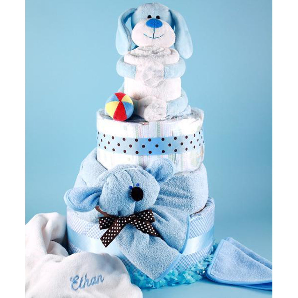 Baby's Puppy Pal Personalized Diaper Cake Baby Boy Gift - Hudson Baby Company