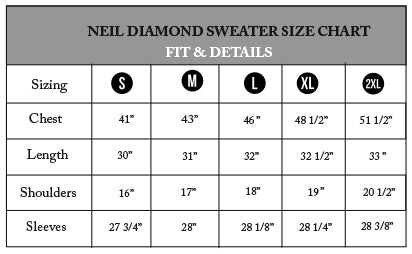 Neil Diamond Sizing Chart