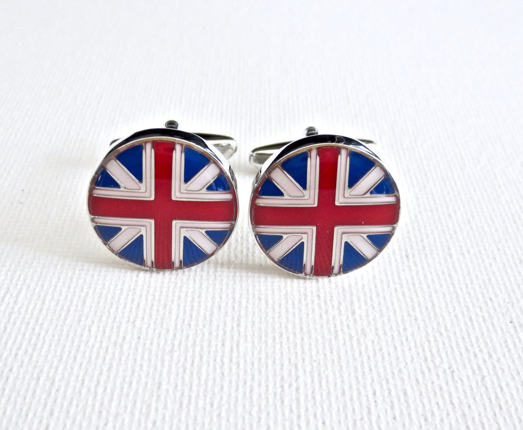 English UK Flags Cufflinks - Groomsmen Groom Wedding Gift For Him