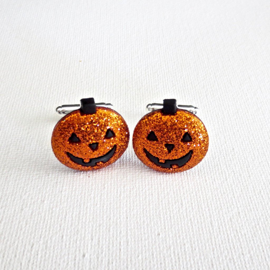 Halloween Jack-O-Lantern Pumpkins Holiday Cufflinks - Groomsmen Groom Wedding Gift For Him