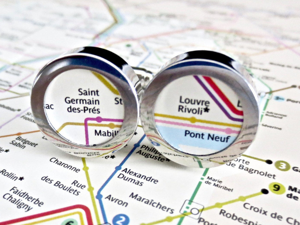 Subway World Map Cufflinks Paper 1st Annniversary - MarkandMetal.com