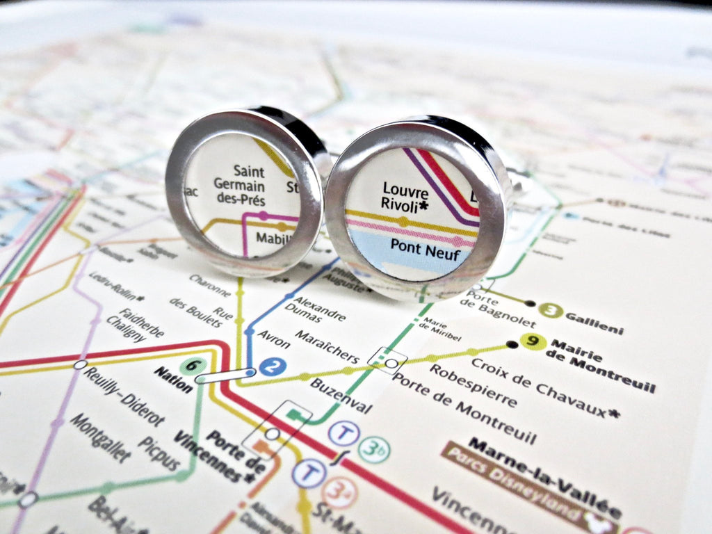 Subway Map Cufflinks.Subway World Map Cufflinks Paper 1st Annniversary Stainless Steel
