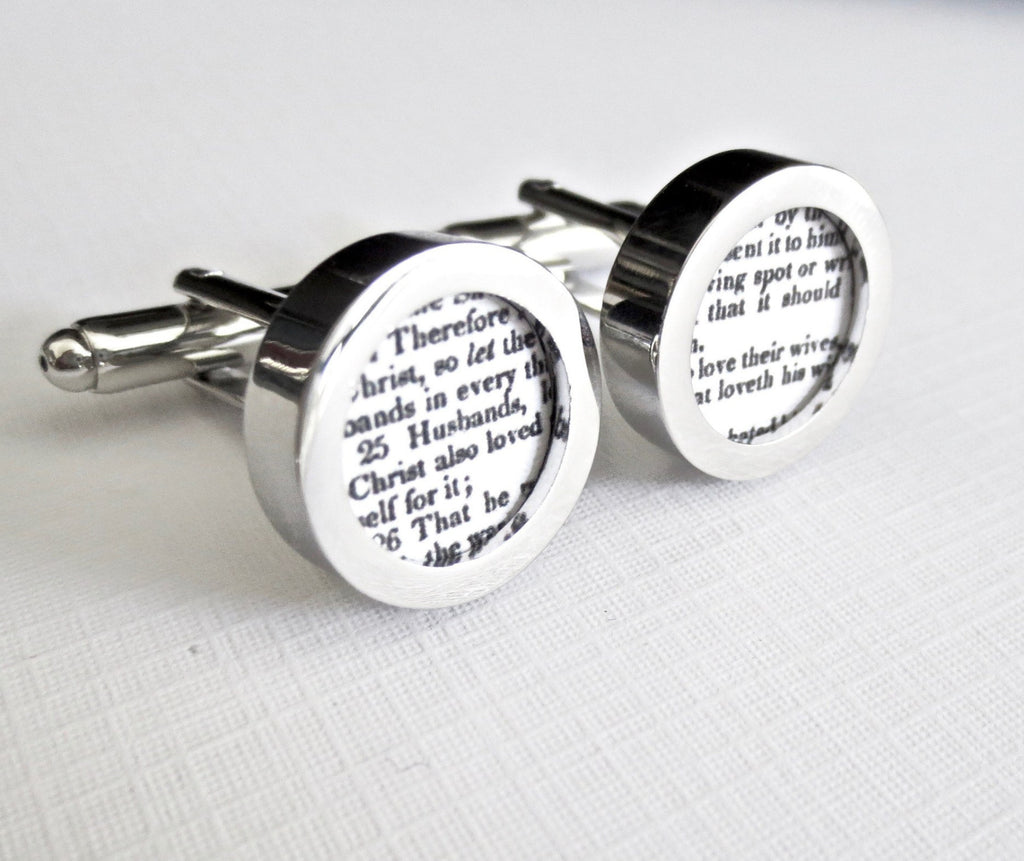 Paper Anniversary Custom Cufflinks Cuff Links * Any Bible Verse* Wedding Groom First one Year Gift for Him - MarkandMetal.com