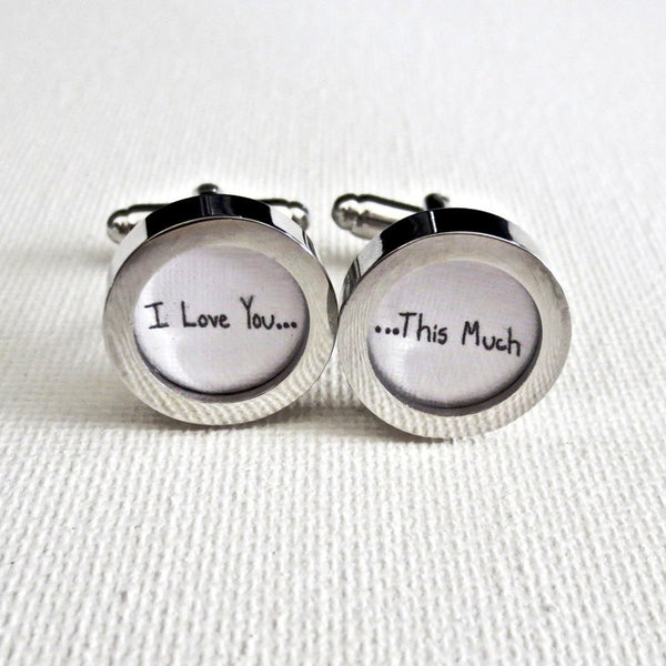 Cotton 2nd Anniversary Cufflinks Your Handwriting - Groomsmen Groom Wedding Gift For Him