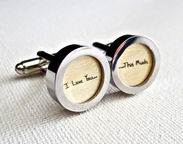 Wood 5th Anniversary Cufflinks Your Handwriting - MarkandMetal.com