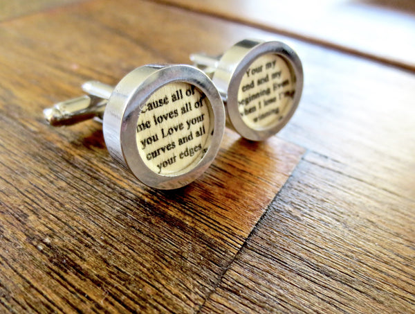Wood 5th Anniversary Cufflinks Your Wedding Vows or Song - Men's Accessories and gifts for him