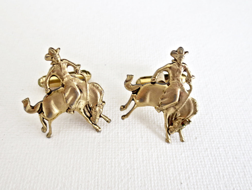Bucking Horse Bronco Western Cufflinks - Groomsmen Groom Wedding Gift For Him