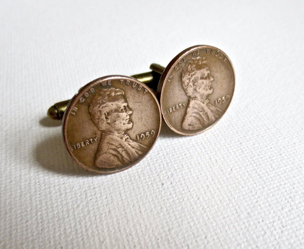 1959 Penny Coin Cufflinks - Men's Accessories and gifts for him