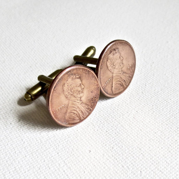 1990s Penny Coin Cufflinks - Groomsmen Groom Wedding Gift For Him