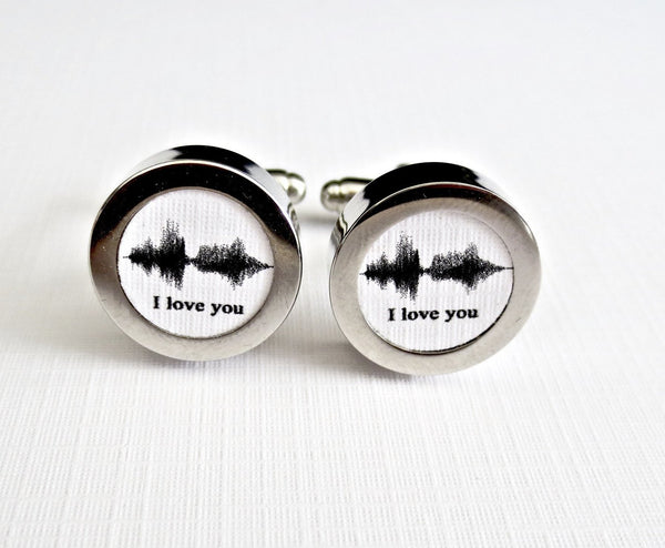 Sound Wave Art Cufflinks Paper 1st Anniversary - Men's Accessories and gifts for him