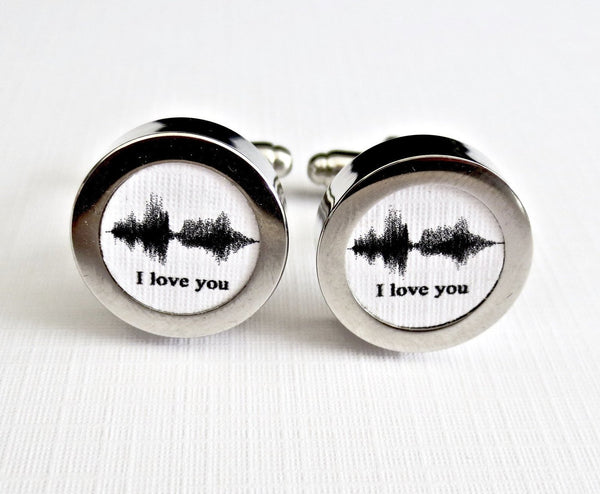 Voice Sounwave Art Cufflinks Cotton 2nd Anniversary Gift