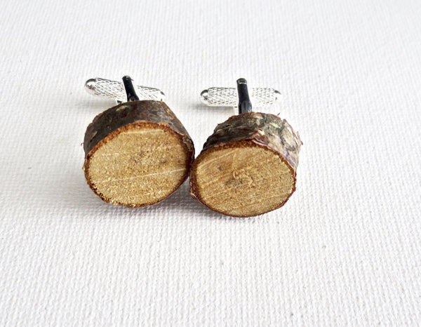 Birch Wood 5th Anniversary Cufflinks - MarkandMetal.com