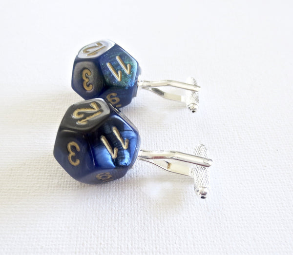 Dungeon and Dragons D12 Dice Cufflinks - Groomsmen Groom Wedding Gift For Him