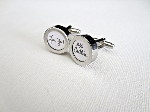 Paper 1st Anniversary Cufflinks Your Handwriting - MarkandMetal.com