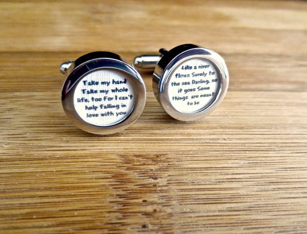 Anniversary Cufflinks - Any song or message for your loved one - Groomsmen Groom Wedding Gift For Him