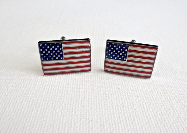 American USA Flag Cufflinks - Groomsmen Groom Wedding Gift For Him