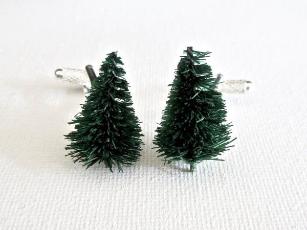 Christmas Tree Holiday Cufflinks - Groomsmen Groom Wedding Gift For Him