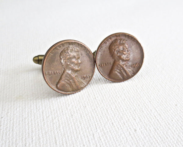 1960s Penny Coin Cufflinks - Groomsmen Groom Wedding Gift For Him