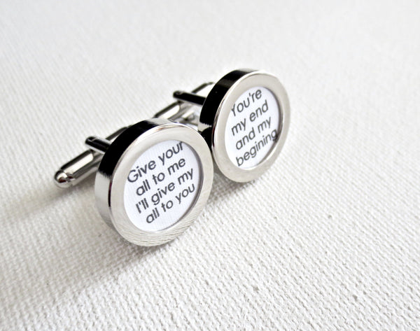 Anniversary Cufflinks - Any song or message for your loved one - MarkandMetal.com