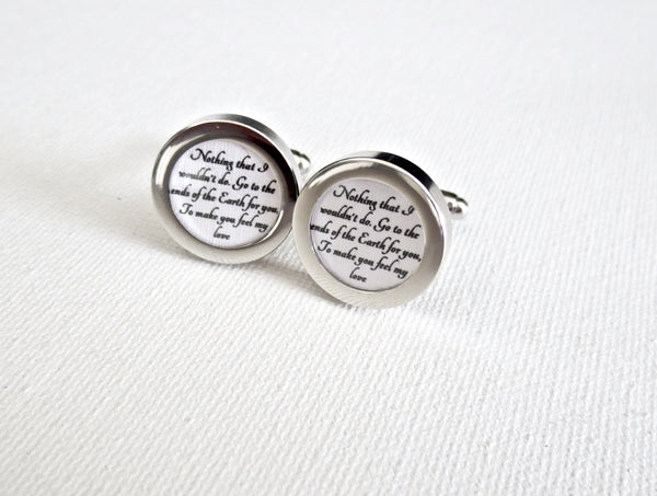 Paper st anniversary cufflinks your wedding vows song groom gift