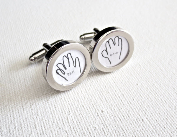 Baby or Child Hand Tracing Cufflinks - MarkandMetal.com