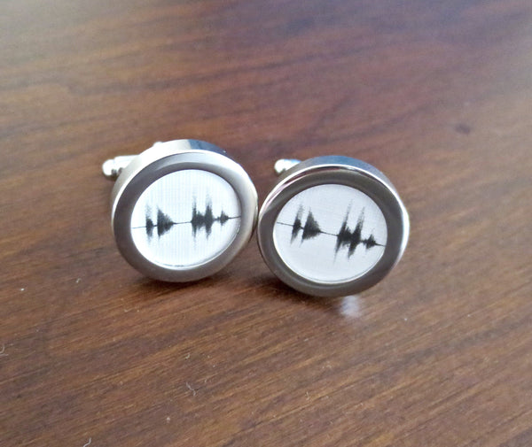 Sound Wave Cufflinks - Your voice recording - Men's Accessories and gifts for him