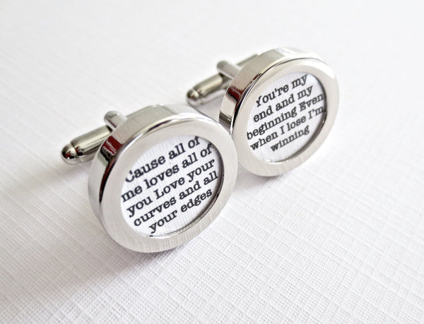 Paper 1st Anniversary Cufflinks Your Wedding Vows Song - MarkandMetal.com