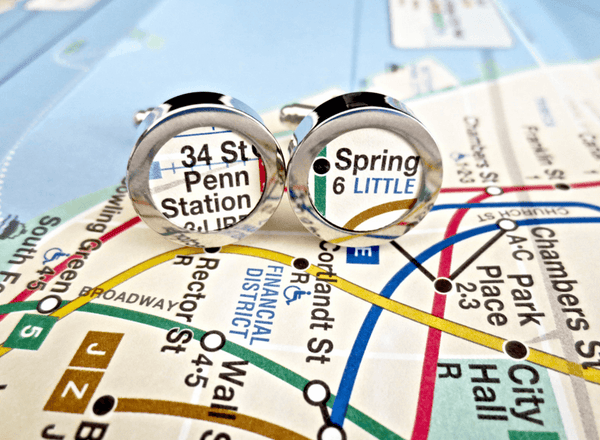 New York Subway Map Cufflinks - MarkandMetal.com