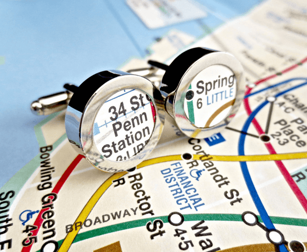 Cotton Anniversary New York Subway Cufflinks Cuff Links Custom Map Metro Second 2 two 2nd Year Gift for Him Husband Groom *Any Stop in New York* - MarkandMetal.com